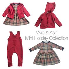 Organic French Terry Rompers, Hooded Cardigans and Gingerbread Plaid Swing Dress are live on vivieandash.com!
