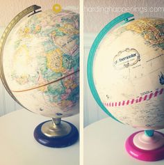 Washi Tape Globe Upcycle--I was just telling my mom not too long ago that I wanted to think of a neat up style idea for her globe...here's a cute and simple one, I would probably do teal & orange though! :)