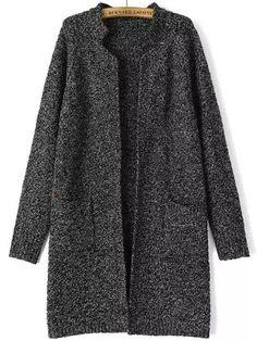 Cardigan tricot col montant -Noir  23.06