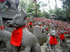 Fox Statues @Yoshinori Murata Murata Toyokawa-Inari Temple  The site of all these statues. Breath taking