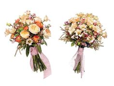 (Left): Bouquet of Juliet garden roses, ranunculus, Falda lisianthuses, snowberries, and Andromeda, $250;   (Right) Save: Bouquet of Falda lisianthuses, snowberries, and andromeda, $150,