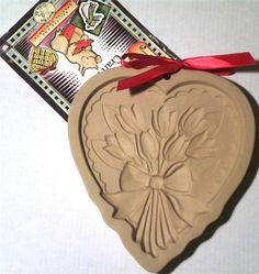 Brown Bag Cookie Art Tulips Heart Stoneware Mold 1989 Recipe Booklet Retired #BrownBag