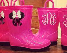 Popular items for monogram rain boots on Etsy