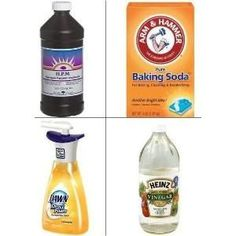 DIY Tip Removes Cat and Dog Urine from Carpet -- Mix 1 part water and 3 parts vinegar. Spray on carpet stain. Let it soak for 30 minutes. Mix 1 cup of hydrogen peroxide, 2 teaspoons of baking soda with a squirt of dish-washing liquid. Shake well. Spray and let soak. Caution: Peroxide may change the carpet color, so this tip works best on white or off-white carpeting. by shirley