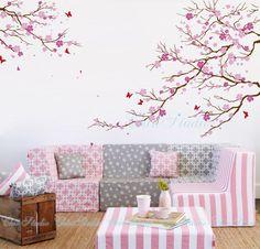 Tatuajes de pared de árbol de cerezo en flor con mariposa pared pegatinas casa decoración romántica Cherry blossom árbol artes de la pared