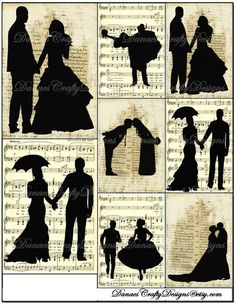Vintage Wedding Silhouette Collage Sheet - Instant Digital Download - Bonus Sheet My Treat - 2 for 1