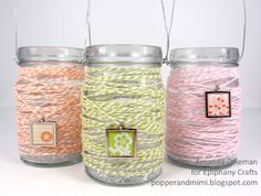 Popper & Mimi Paper Crafts: Epiphany Crafts & The Twinery Blog Hop Day 2: Twine Wrapped Jar Lanterns Tutorial