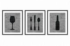 Modern Dining Room Art Prints - Beer, Wine, Fork, Knife, Spoon - Set of 3 8x10 Dining Room or Kitchen Art / Wall Art Decor Digital Prints