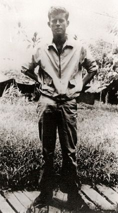 JFK as a member of the US Navy in the Solomon Islands in 1943. [398x720] - Imgur