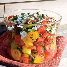Watermelon, Heirloom Tomato, and Feta Salad Recipe (I will use bleu cheese)