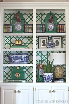 Painted Bamboo Bookshelf Backs Painted Bookshelves, Styling Bookshelves, Bookcases, Painted Bamboo, Hand Painted, Chinoiserie Chic, My Living Room, Home Decor Inspiration, Sunday Inspiration