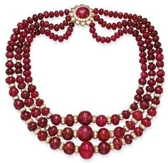 Multi-stand ruby necklace.