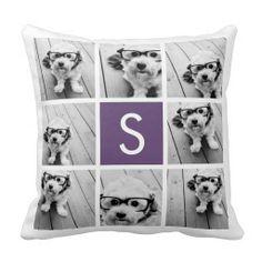 Aubergine and White Photo Collage Custom Monogram Throw Pillows #Wedding #pillow