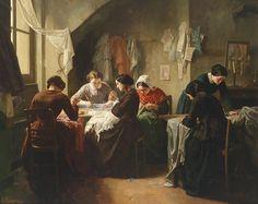 """""""Couturières bretonnes ou Atelier de couture"""" by Jean-Baptiste Jules Trayer, French, 1854."""