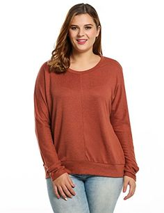 ed806087728 Meaneor Plus Size Long Sleeves Womens Casual Crew Neck Knit Pullover Sweater(XL   US