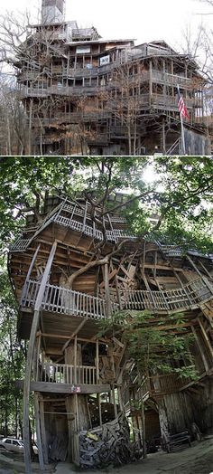 97 foot tree house built by Horace Burgess. Has 10 floors. Builder used about 258,000 nails.