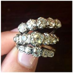 Outrageous sparkles - our antique five-diamond rings. Visit Isadoras Antique Jewelry in Seattle, Washington.
