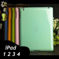 FOR apple i pad 1 2 3 4 soft cover case 9.7 inch solid Color silicon TPU anti-knock case