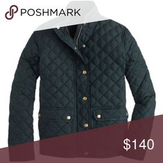 NWT J. Crew Quilted Jacket Gorgeous J. Crew quilted jacket! Sold out online and in stores!  New with tags. Dark hunter green color. Hits above hip. Zips up and snaps. Fully lined. Machine washable. Size Medium. No trades. More pics coming soon! J. Crew Jackets & Coats