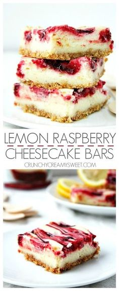 Sweet and creamy lemon cheesecake bars with raspberry pie filling swirl from crunchycreamysweet.com Lemon Raspberry Cheesecake Bars