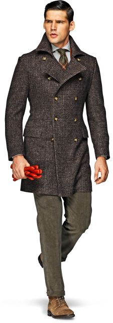 Cashmere Glen Plaid Double Breasted Coat, Red Gloves. Men's Fall/Winter Fashion.