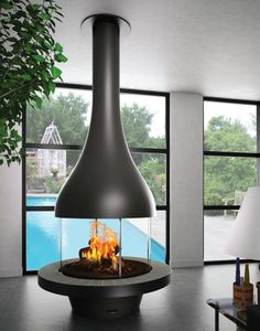 Wood fireplace / contemporary / open hearth / central - ZELIA 908 - JC BORDELET