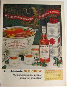 Vintage OLD CROW Liquor Ad, Old Crow Advertisement Print excised from large format magazine, 1963 liquor ad, Old Crow bourbon punch recipe