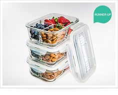 Glass Meal Prep Containers 3 Compartment - Food Storage Container Set with Airtight Locking Lids with Cutlery Compartment - Portion Control - Microwave, Freezer, Oven & Dishwasher Safe - World's Best Products For Your Home And Kitchen Glass Storage Containers, Glass Food Storage, Food Containers, Kitchen Storage, Plastic Storage, Best Meal Prep Containers, Storage Canisters, Tapas, Boite A Lunch