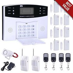 Home Security System Professional Wireless GSM Remote Control Intelligent LED Display Voice Prompt WiFi Burglar Alarm House Business Surveillance Cameras Auto Dial Outdoor Siren -- Find out more about the great product at the image link. (Note:Amazon affiliate link)