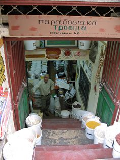 Traditional foods shop on Euripides street in Athens