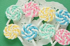 8 pcs Polymer Clay Lollipop Candy Cabochon by Candydecoholic