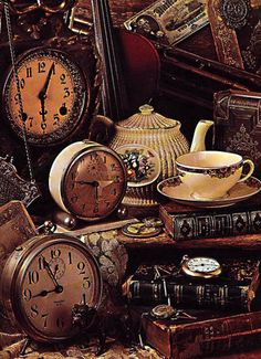 Slightly mad teaparty feeling... all the clocks show different time, and there's books and everything in a mess...