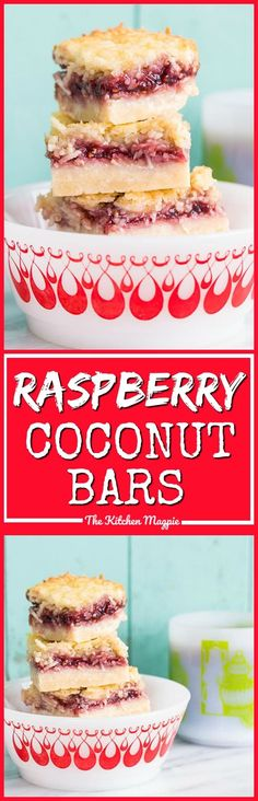 Raspberry Coconut Bars, the perfect bar recipe! It freezes well and tastes amazing! Perfect for your Christmas or holiday dessert table! Raspberry Bars, Raspberry Recipes, Coconut Recipes, Baking Recipes, Cookie Recipes, Baking Ideas, Healthy Recipes, Köstliche Desserts, Christmas Desserts