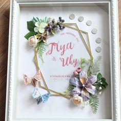 # royalwrap… ahar Trya and Uki - Wedding Time Diy Wedding Veil, Wedding Cards, Rustic Wedding, Wedding Gifts, Diy Flowers, Paper Flowers, Money Frame, Diy And Crafts, Paper Crafts