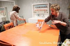 How to use Chalk Paint® decorative paint and Waxes   by Rhoda Southern Hospitality features Denise and Rhonda from Atlanta's Color Me French to demonstrate proper waxing technique.