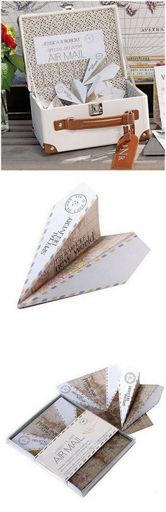 Create a Paper Airplane Wishing Well or use them as escort cards!  These paper plane notes come ready made with folding lines, a cute vintage design and blank spaces for guests to leave messages. Get more ideas here: http://www.confettidaydreams.com/travel-themed-wedding-ideas/