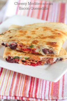 Cheesy Mediterranean Bacon Quesadilla, buttery crisp tortillas filled with Mediterranean flavors!