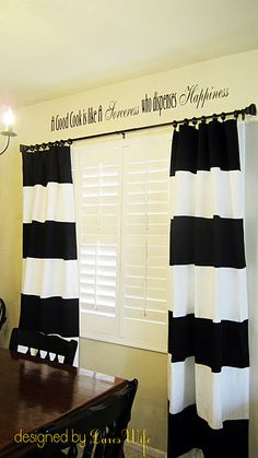 """DIY Striped Curtains How to! 12"""" stripes of dark fabric sewn onto white IKEA curtains! Doing it!"""