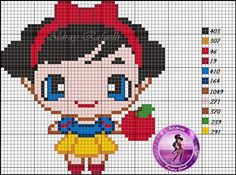 Disney Snow White pattern by Aldray Ferreira Kawaii Cross Stitch, Cross Stitch Baby, Cross Stitch Charts, Cross Stitch Patterns, Beaded Cross Stitch, Crochet Cross, Cross Stitch Embroidery, Embroidery Patterns, Hand Embroidery