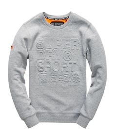 Shop Superdry Mens Gym Tech Embossed Crew Sweatshirt in Grey Grit. Buy now  with free delivery from the Official Superdry Store.
