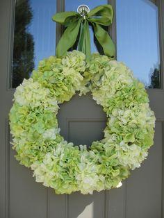 Silk Hydrangea Wreath  Hydrangea Wreath      Spring and Summer Wreath  Saint Patrick's Day Wreath   Mothers Day Wreath  St Patrick's Wreath on Etsy, $120.00