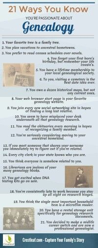 Are you family history obsessed? Our infographic tells you how to know if you're passionate about genealogy. Genealogy Quotes, Family Genealogy, Family Roots, All Family, Family Trees, Family History Quotes, Family Tree Research, Genealogy Search, Jokes
