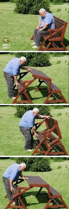 "Jacen ""If this old guy can do it, then you definitely should be able to, too!"" Folding Picnic Table & Bench"