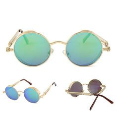 91e97c9d35e UV400 Vintage Steampunk Round Mirror Lens Sunglasses Outdoor Sport ...