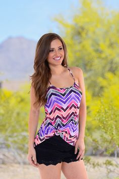 Because I'm Happy Tank - Chevron from Closet Candy Boutique