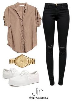 kpop fashion A fashion look from May 2016 by btsoutfits featuring Xirena, J Brand and Lacoste Komplette Outfits, College Outfits, Cute Casual Outfits, Stylish Outfits, Fall Outfits, Teenager Outfits, Girls Fashion Clothes, Teen Fashion Outfits, Kpop Fashion