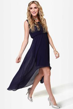 Beautiful Beaded Dress - Navy Blue Dress - High-Low Dress - $60.00