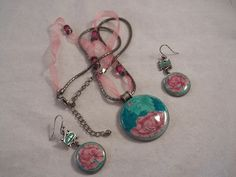 Silvertone Chain  Pink Ribbon Necklace w/Painted Pendant  Earrings  (#0037)