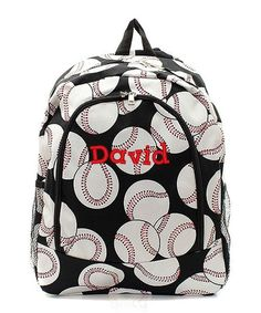 Personalized Baseball Padded Backpack - Black