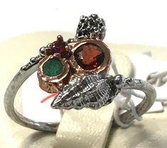 Unique FineArt Jewelry Garnet Emerald 925 Sterling Silver Ring Sz 8